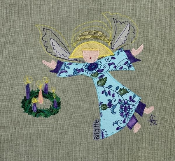 Angel: turquoise & purple floral robe with advent wreath on sage linen