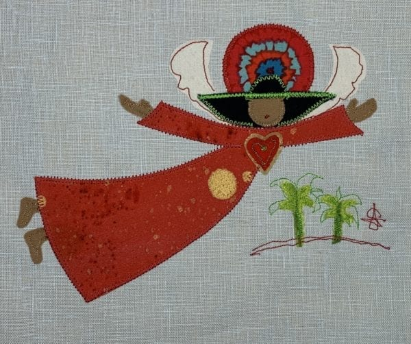 Angel: red speckled robe on pale blue linen with palm trees