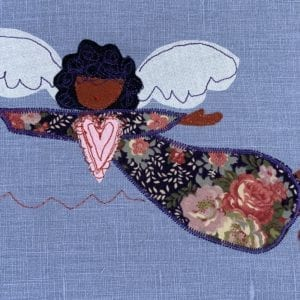 Angel: rose floral robe on French blue linen