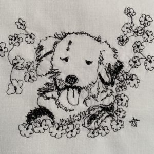 Labradoodle in Flowers