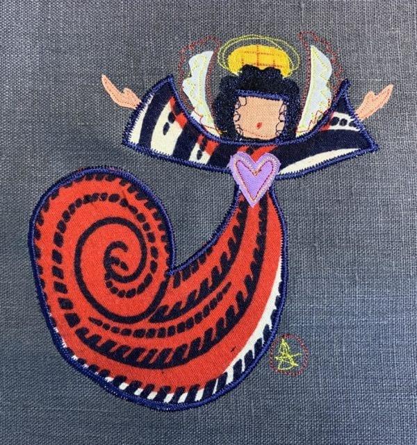 Angel: red swirl robe on slate linen