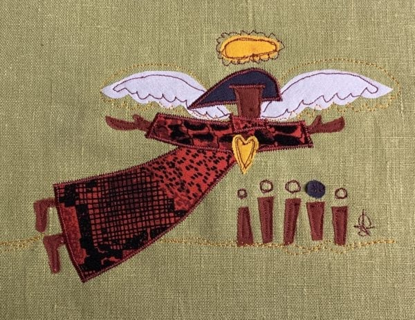 Angel: black & red patterned robe on mustard green linen
