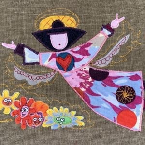 Angel: patterned robe on olive linen with happy flowers