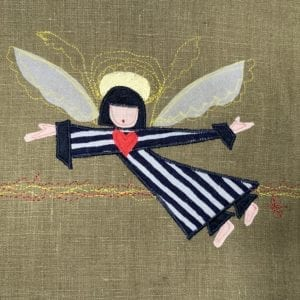 Angel: black & grey striped robe on olive linen