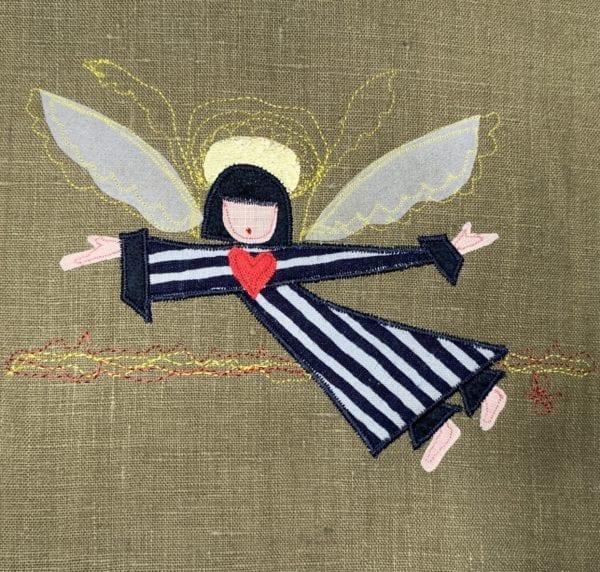 Angel: black & grey striped robe on olive linen