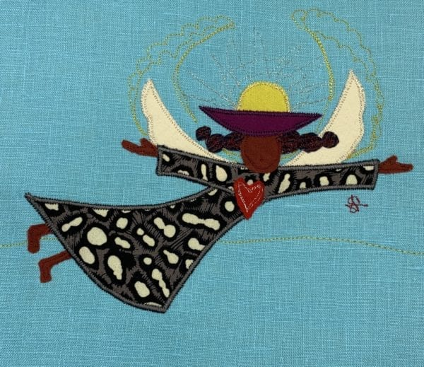 """10""""x7"""" appliqué and thread drawing, poly/cotton thread on linen fabric, gently mounted on card stock in cello sleeve"""