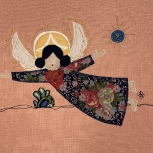 Angel: rose floral robe on peach linen