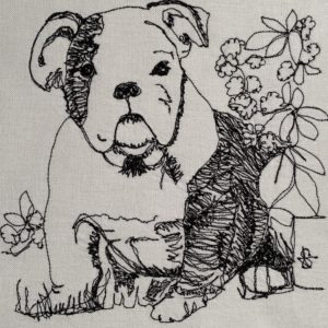 Bulldog with Flowers