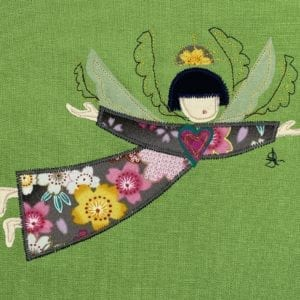 Angel: Japanese type floral robe on lime green linen