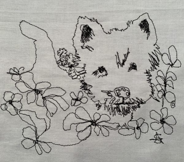 Terrier in Flowers
